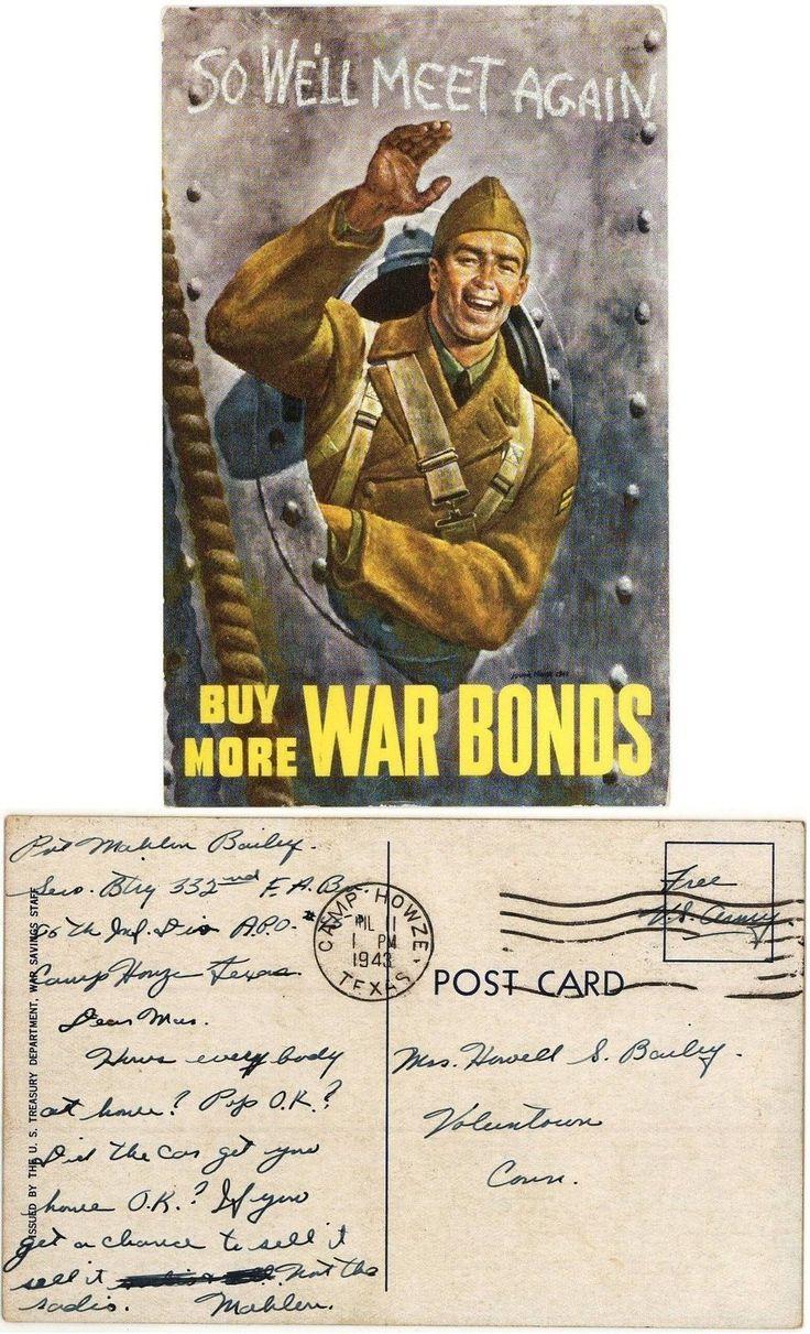 """Buy War Bonds"" Postcard from Camp Howze, Texas 1943   eBay"