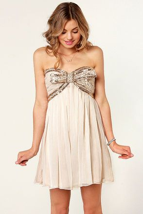 The Whole Package Strapless Beige Sequin Dress. Oh my goodness, this dress is beautimous...... and only $92.