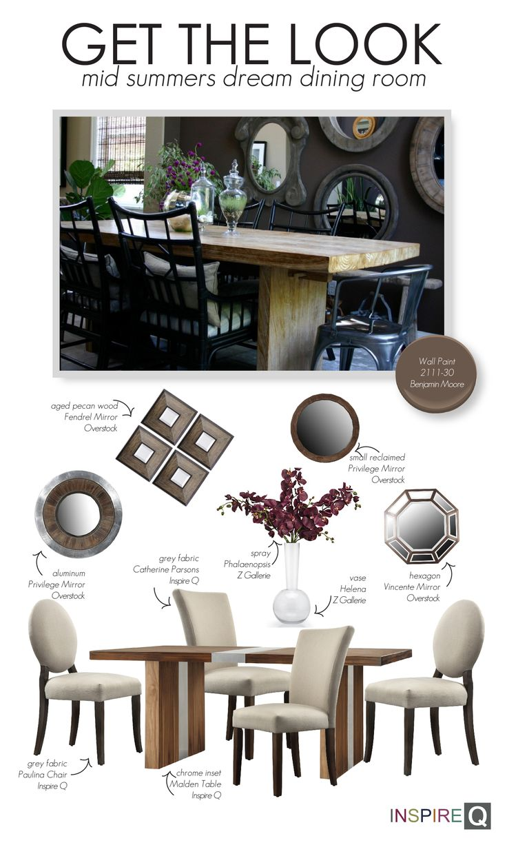 Mid Summers Dream, Wall Paint: 2111-30 Benjamin Moore, Dining Table: Malden  Chrome Inset - Inspire Q, Dining Chair: Paulina Round Back Grey Fabric -  Inspire ...