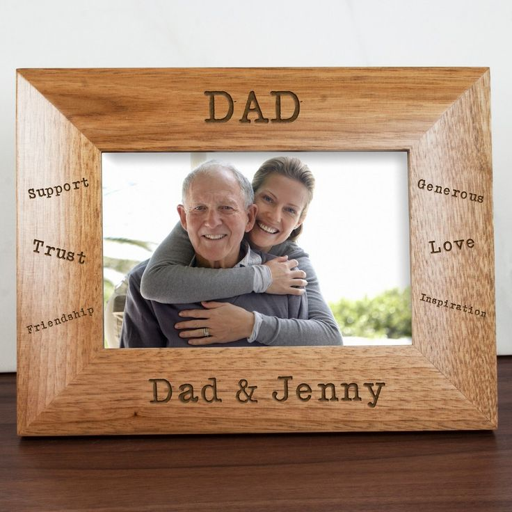Sentiments Dad Engraved Photo Frame. https://harringtons-gift-store.co.uk/collections/fathers-day-gifts/products/sentiments-dad-engraved-photo-frame