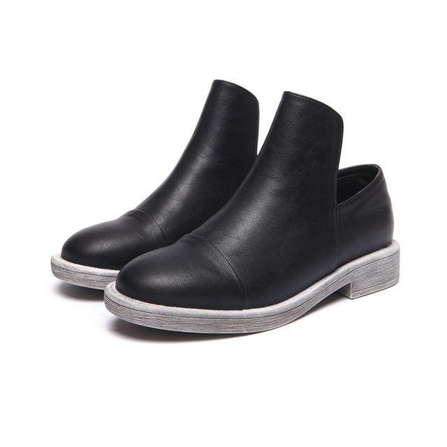 Moda Sólidos Mulheres Sapatos Outono de 2016 Elegante Do Vintage Senhoras de Couro do Tornozelo Sapatos Casuais Baixo Sapatos de Salto Quadrado Botas Black Brown