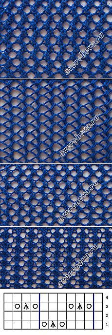 Узор 518 ажурная сетка | каталог вязаных спицами узоров