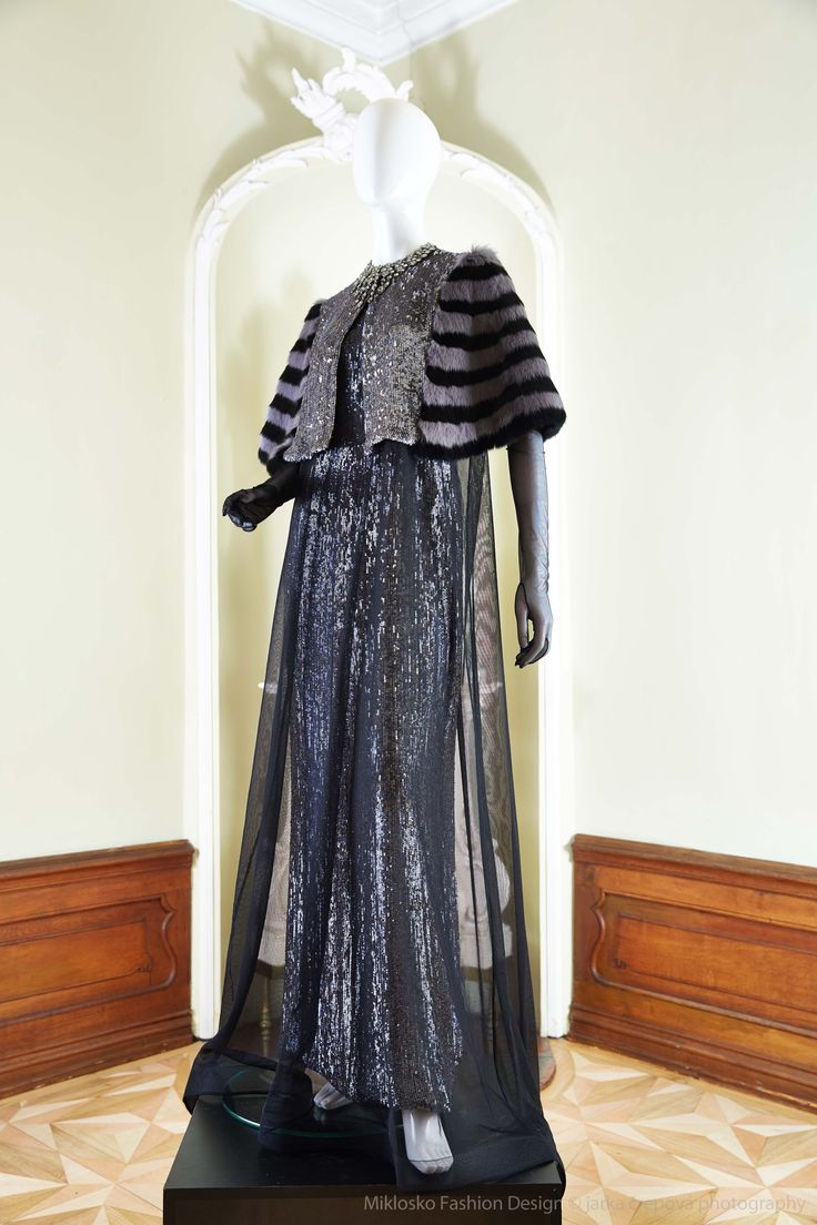 8. MFD Dark silver evening dress with black and grey bolero. www.mikloskofashiondesign.sk