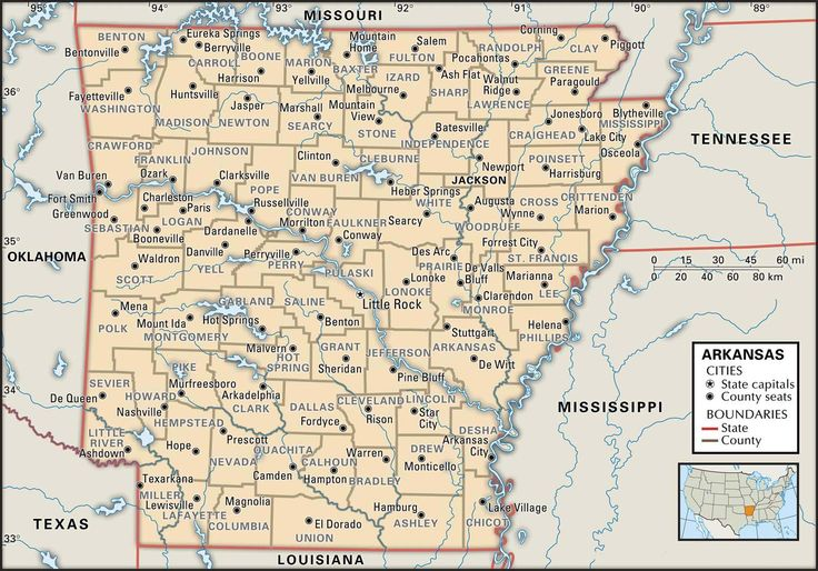 arkansas+atlas+map | Map of Arkansas county boundaries and county seats.