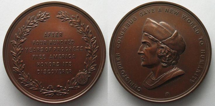 1893 Vereinigte Staaten von Amerika - Medaillen 1893 ANS COLUMBUS QUADRICENTENNIAL MEDAL bronze by TIFFANY # 96310 UNC