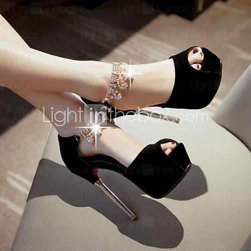 Women's Shoes Leatherette Stiletto Heel Heels / Peep Toe Sandals Wedding / Party & Evening / Dress Black / Red / White - USD $37.99