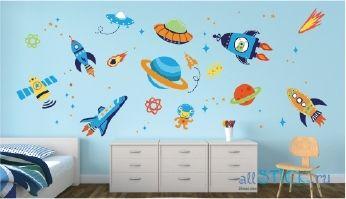 Недорогая наклейка на стену Космос в интерьере детской комнаты