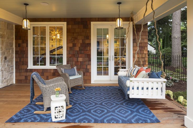 Want to use this idea of a swing on the porch.  Still not sure about the dust! By Laura Engen Interior Design