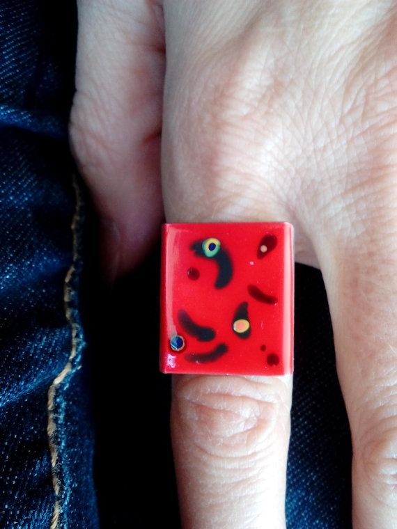 Check out this item in my Etsy shop https://www.etsy.com/listing/485039825/square-red-attraction-ring-with-lines