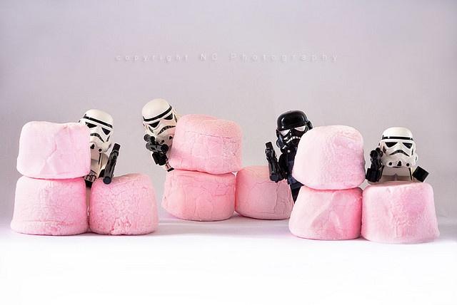 Mushmellow Lego Stormtrooper hide and sick Star Wars Guerre Stellari nascondino HA! love this!