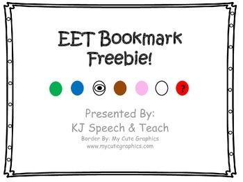 Presenting EET Bookmark Freebie! I love using the Expanding Expression Tool in my speech room, and the kids enjoy it too! I created these bookmarks for kids to use in the speech room or back in their classrooms. I've found that these work great for jotting down notes under each category as kids read.