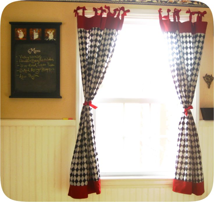 Free Tutorial For Retro Kitchen Curtains With Bows Sewing Tutorials And Patterns Pinterest