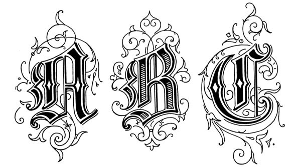 Old English Style Letters : ABC These Old English Style Letters are from Art Alphabets and Lettering by J.M. Bergling, copyright 1918.