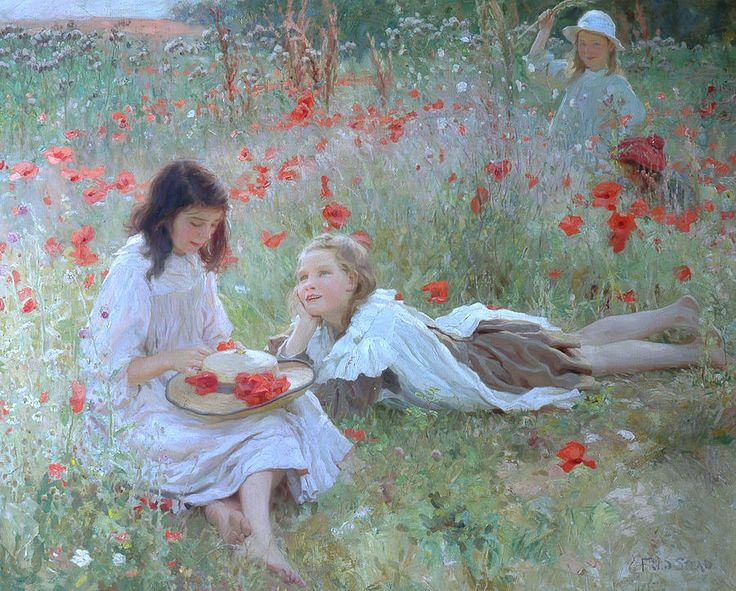 Female Painting - Poppies by Frederick Stead