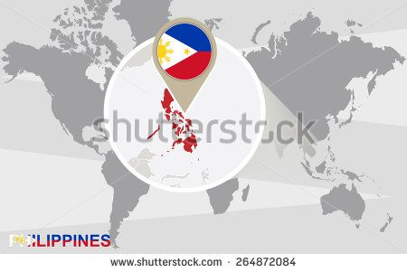World map with magnified Philippines. Philippines flag and map.