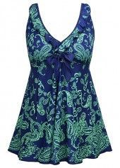 Tie Back Navy Blue Printed Swimdress and Shorts on sale only US$31.47 now, buy cheap Tie Back Navy Blue Printed Swimdress and Shorts at liligal.com