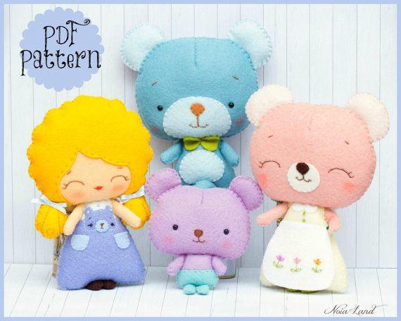 PDF. Ricitos de oro y los tres osos. Patrón de cuento de hadas. Felpa muñeca patrón, blando, blando sentía patrón de juguete.