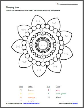Blooming Sums - Color By Number PLUS - Click the Language Arts, Math, Science, History, and Bible tabs for drop down access to 100's more FREE Printable Worksheets