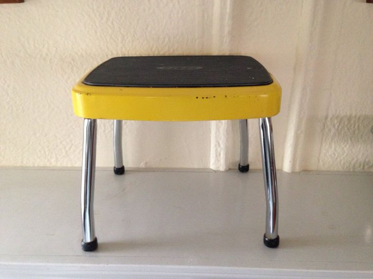 Vintage Metal Costco Step Stool In Yellow And Black