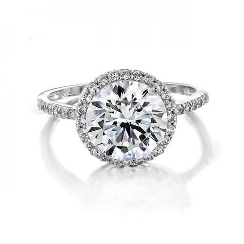 Bling Jewelry Vintage Style 925 Sterling Silver Round CZ Engagement Ring