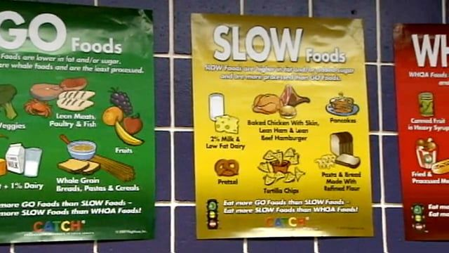 """Go Slow Whoa"" – You don't have to be a nutrition expert in high school or at work in Pittsville to know which foods are the healthy choice. (Source: Prevention Speaks)"