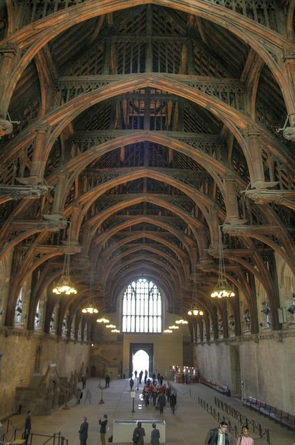 The magnificent hammer-beam roof of Westminster Hall, Houses of Parliament, is the largest medieval timber roof in Northern Europe. The roof was commissioned in 1393 by Richard II, and is a masterpiece of design.