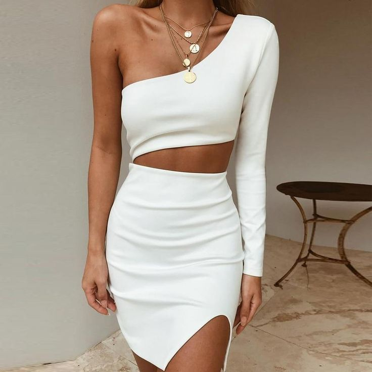 2019 New Summer Women One Shoulder Bandage Dress Celebrity Evening Party Dress Sexy Hollow Out Bodycon Club Dress Vestidos