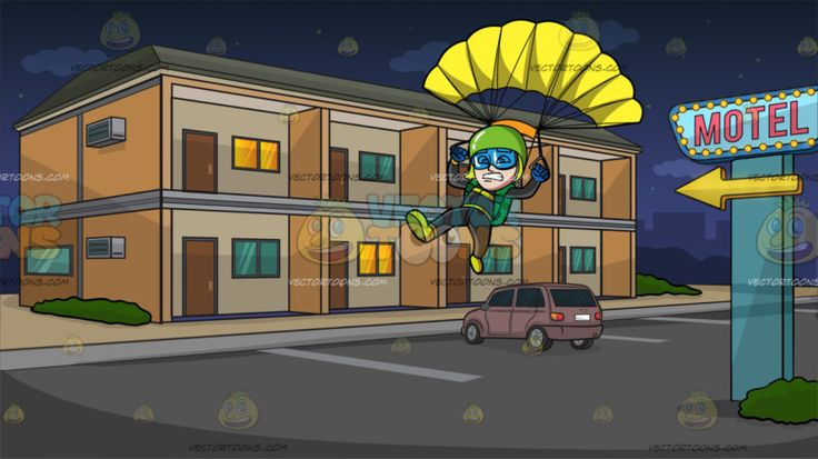 A Scared Male Skydiver At The Outside Of A Motel :  A man wearing an apple green helmet transparent blue goggles black suit green parachute bag neon green shoes and blue gloves grits his teeth in nervousness as he maneuvers his opened yellow parachute. Set in a building with orange and pale cream walls that serve as a motel with eight rooms in front complete with a door and window a blue motel sign with gold arrow a pink car parked in front during a quiet night with dark blue sky.