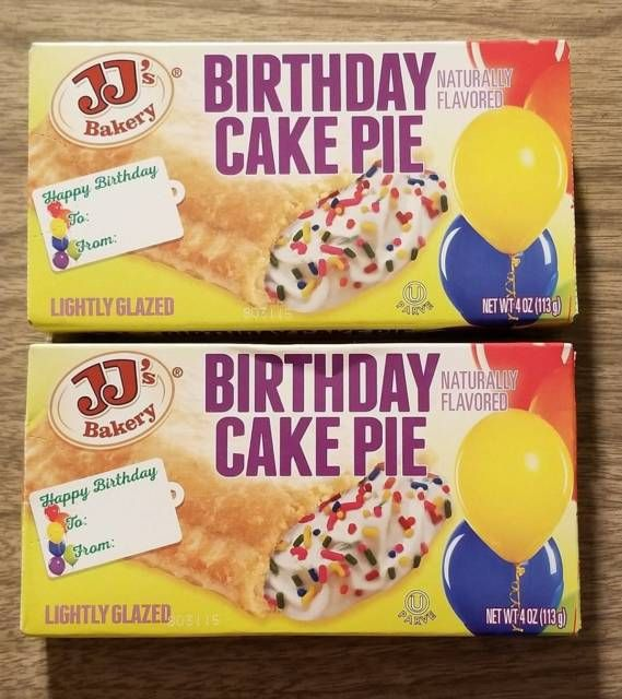 2 JJs Bakery Lightly Glazed Birthday Cake Pies 4oz Yummy Pie Snack Food