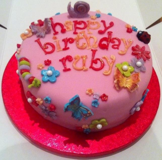 Pink bugs cake