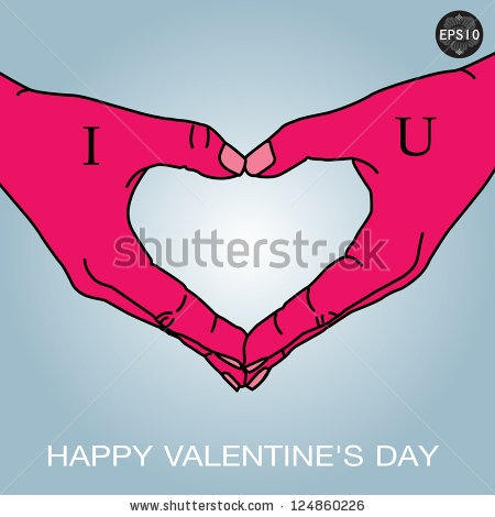 Hand in love shape with tattoo, Vector eps10, Illustration