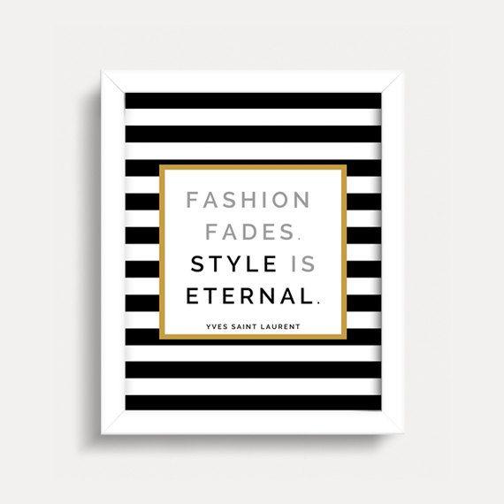 Fashion quote wall art print - yves saint laurent - black ...