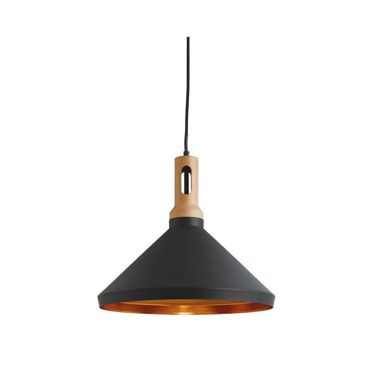 Searchlight Pendant 1 Light Cone Gold Inner Black Outer Wood Effect Cap