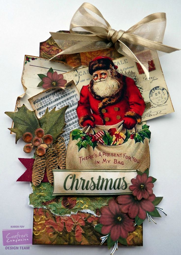 Christmas Tag. Products Used - Crafter's Companion Vintage Christmas CD. Diesire Splendour Embossing Folder