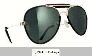 Leather Trim Metal Aviators Sunglasses - 578