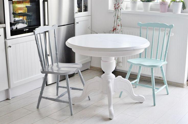 biały okrągły stół, jadalnia, szare krzesło, mietowe krzesło, mint, grey, white home, table, white table