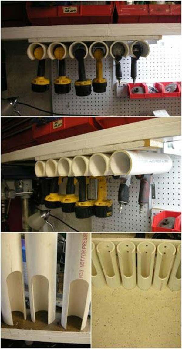 Akkuschrauber in der Garage sauber aufbewahren. Die PVC Rohre werden zugeschnitt