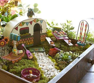 Miniature Fairy Garden Camper Fairies gone camping! Beach Camper Metal Retro!