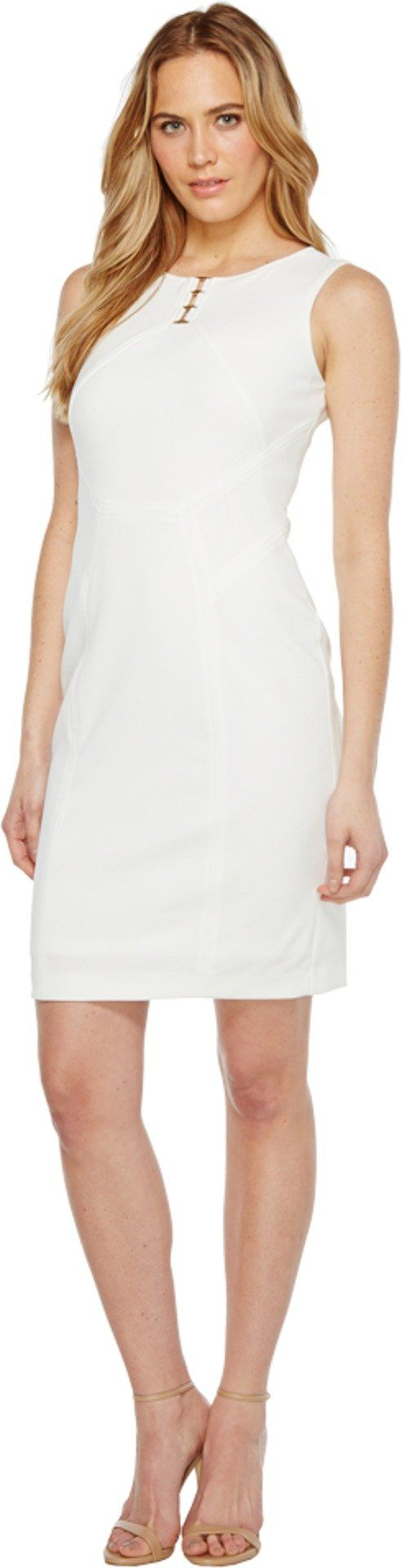 Ivanka Trump Women's Sleveeless Scuba Dress with Hardware Ivory Dress