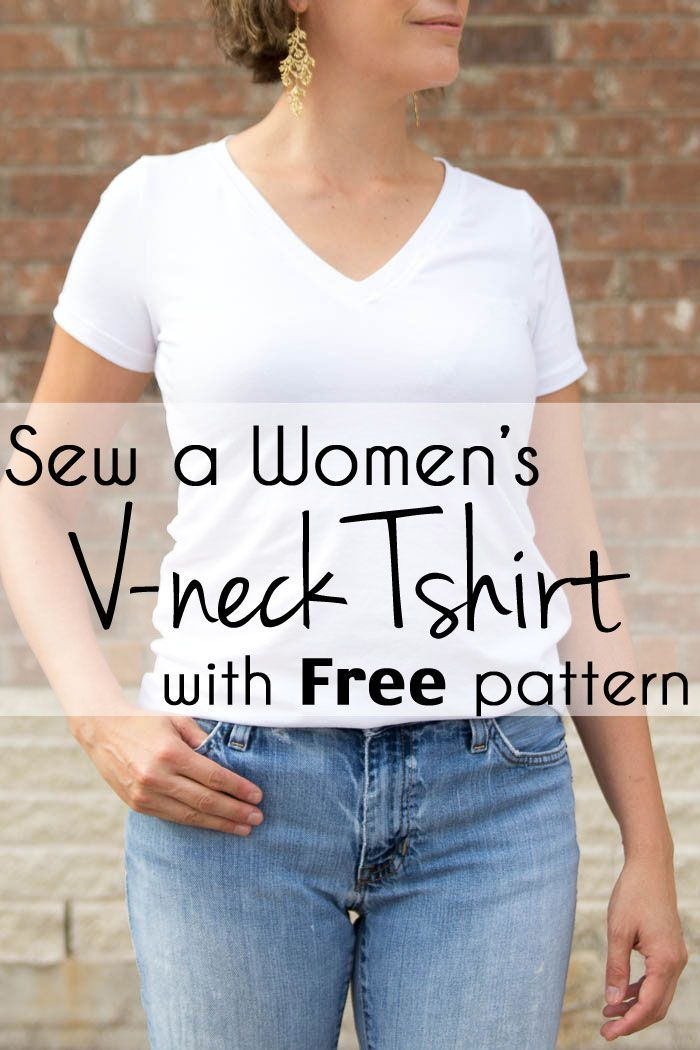 Sew a V-neck Women's T-shirt - Use this free pattern (when you sign up to the email list) and tutorial