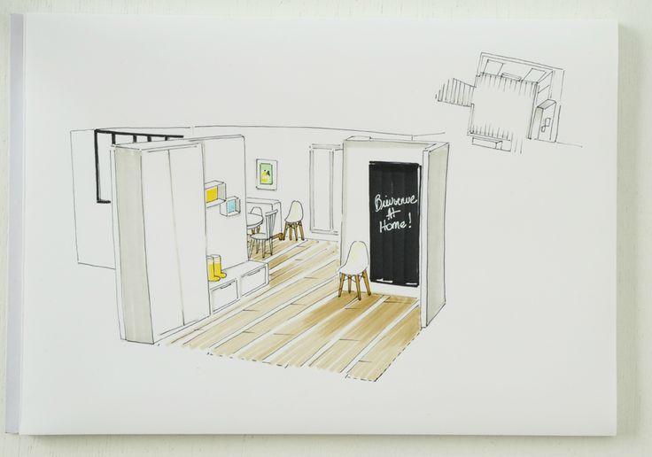 croquis hall | Idées pour la maison | Pinterest | Croquis, Dessin ...