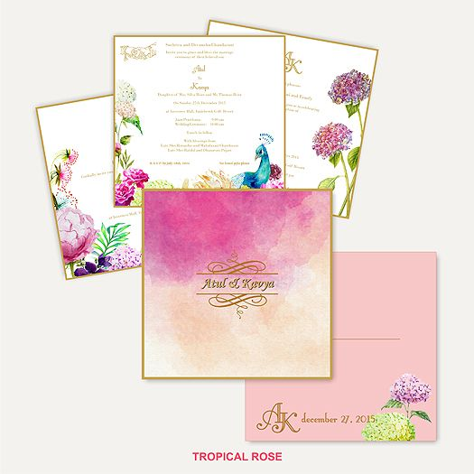 Welcome to our new category #BeSpoke Wedding Invitations - If romance could be painted it would look like this invite. Soft watercolor hues & shades brought to life by beauty & love of nature. An artist impression designed to brighten up any wedding. An eternal, classical, delicate card with laser name highlights in gold, along with beautiful nature elements painted with love create a unique one of its - kind - art invite.