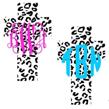 Leopard Cheetah Print Cross Monogram Decal By
