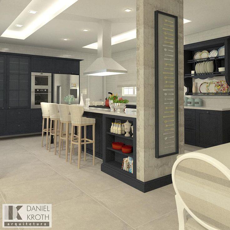 Projeto de uma Cozinha com marcenaria em linhas clássicas na cor azul petróleo #DanielKrothArquitetura #DKarquitetura #cozinha #kitchen #SCAmoveis #SCAcanoas #moveis #talheres #concretoaparente #azulpetroleo #louças