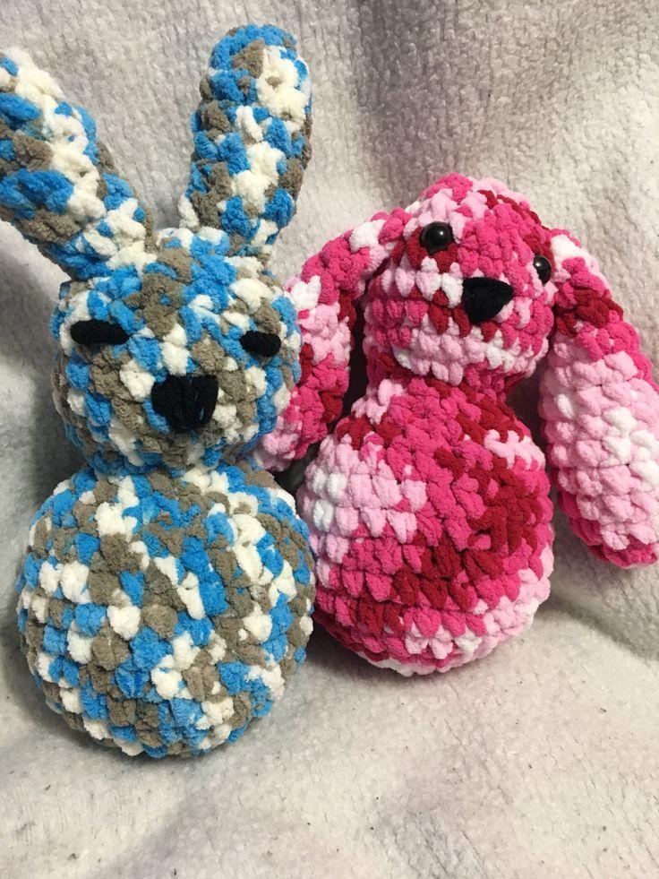 Latest addition to my #etsy shop: Amigurumi crochet bunnies. Bernat baby blanket yarn bunny #bernatbabyblanket #amigurumi  #crochet #amigurumibunny