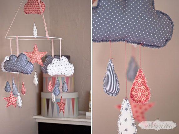 selbstgenähtes Wolkenmobile fürs Babyzimmer