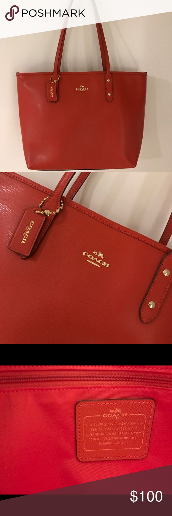 """Red Coach Tote NWOT Gorgeous red leather Coach tote bag! It's brand new without tags, I received it as a gift but have just never used it. It's spacious and a beautiful color! There is a zipper at the top to close the whole thing to keep your belongings safe!  10"""" height x 16"""" length (measured through the center of the bag) and the strap comes 10"""" up off the top of the bag to fit over the shoulder! Coach Bags Totes"""