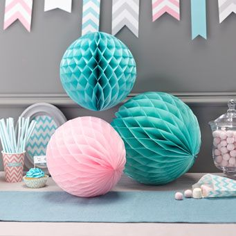 Each pack contains one large mint green / pastel turquoise ball (30cm), one small pink and one small green honeycomb ball (25cm).