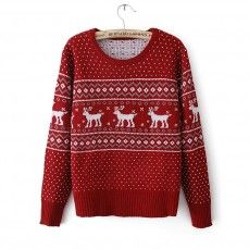 Red deer printed sweater