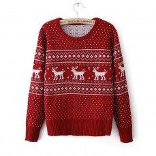 Red deer printed sweater